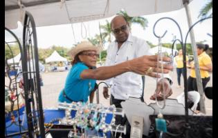 Denise Wedderburn assists Tourism Minister Edmund Bartlett as he browses craft jewellery at the Treasure Beach Benevolent Society booth at the Christmas Craft Fair, held at Emancipation Park in St Andrew last December.